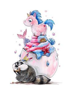 Unicorn Illustration, Cute Illustration, Watercolor Animals, Watercolor Art, Food Sketch, Unicorn Pictures, Manga Anime Girl, Baby Unicorn, Art Drawings Sketches