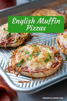 """These mini pizzas are super simple to make and make the perfect snack or lunch! Tips for how to get a perfect """"crust"""" and how to freeze these English Muffin Pizzas for meal-prep! #mealprep #pizza #kidfriendlyrecipe #easyrecipe"""
