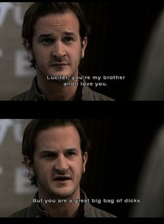 Gabriel on Lucifer. One of the many reasons Supernatural is my favorite show. Richard Speight, Cw Series, Supernatural Fandom, Destiel, Superwholock, Best Tv, Favorite Tv Shows, Favorite Person, Favorite Quotes