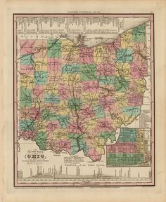 Ohio Old Map Tanner 1836 Digital Image Scan Download Printable - Old Map Downloads