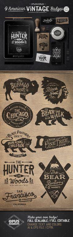 American Vintage Badges Part Two #design Download: http://graphicriver.net/item/american-vintage-badges-part-two/13570820?ref=ksioks