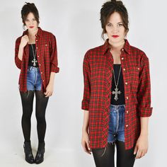 vtg 80s 90s grunge RED PLAID slouchy OVERSIZED FLANNEL button up shirt top S/M/L $58.00