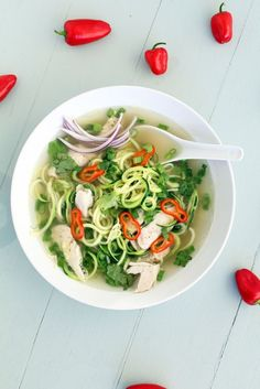 Chicken Pho Zucchini Noodle Soup.