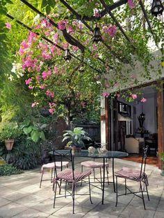 plantes grimpantes pour pergola à fleurs roses délicates au-dessus de la terrasse carrelée