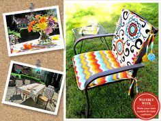 Learn how to sew your own outdoor cushions. Brighten up those outdoor chairs!