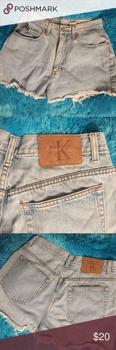 Calvin Klein denim shorts - short and cute! Loved these shorts!! Wish I could still wear them. Size is 10 but they fit small. Ragged edges are originally how they came. (I didn't create them.) Quick shipping from NC! Bundle 2+ items for a discount!! From a Smoke-free, Pet-free home. Calvin Klein Shorts Jean Shorts