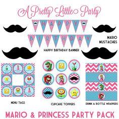 MARIO & Princess Peach Party Pack - Super Mario - Mario Bros - Digital files - Party Supplies - INTANT DOWNLOAD