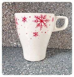 CHRISTMAS SPECIAL: Red on white Snowflake coffee cup, Christmas mug, stoneware mug, Christmas gift range, UK seller, ready to ship