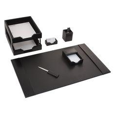 Dacasso Econo-Line Black Leather 8-Piece Desk Set - D1403