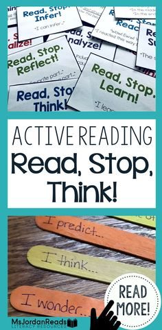 """Read, Stop, Think!"" is an active reading strategy. It's the perfect comprehension tool for helping students stop and think throughout a text. With this strategy, students will READ small chunks of text, STOP to monitor their understanding, and then THINK within, about, or beyond the text. Many comprehension skills can be applied at these stopping points, and you can do this with both fiction and non-fiction texts. 