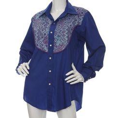 Vintage Western Shirt Snap Front Women's Unisex Blue Print Panel L ? see measure