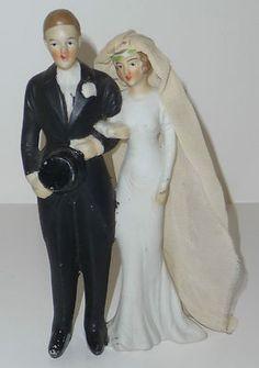 Vintage Bride & Groom Cake Topper Bisque Made in Japan