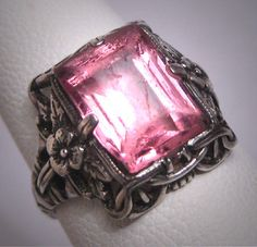 Antique Pink Sapphire Ring Vintage Silver Filigree Wedding