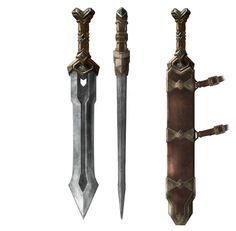 Weta Workshop contributed significantly to the design and delivered manufacture services for all the armour, weapons, creatures and special make up effects for this much loved trilogy of films. Fantasy Sword, Fantasy Weapons, Fantasy Rpg, Medieval Fantasy, Armor Concept, Weapon Concept Art, Dnd Orc, Larp, Star Wars Planets