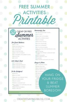 The dog days of Summer are finally here, and while relaxation is a definite must, you'll also want to plan a few activities too. These 52 Cheap or Free Summer Activities for kids and adults don't cost much at all, but leave LOTS of room for imagination and pure family fun! Hang this printable checklist on your fridge so you never run out of ideas again!