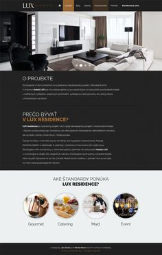 designed web page for real estate residence - dark version