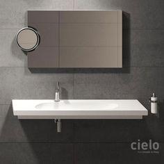 Lavabo suspendido 120 Cubika Blanco Karim - Lavabo Blanco de baño Ceramica Cielo