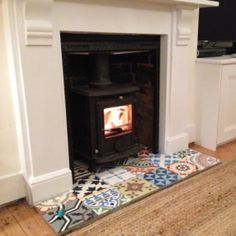 Encaustic Tiles Patchwork Fireplace