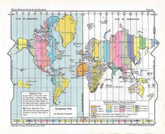 World Time Zone Map, 1954