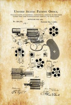 A patent print poster of a Colt Revolver (called Revolving Fire Arm) designed and invented by William Mason for Colt. The patent was issued by the United States Patent Office on December 6, 1881. Patent prints allow you to have a piece of history in your Home, Office, Man Cave, Geek Den or anywhere you wish ...