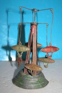 Antique Zeppelin Carousel Tin Toy Pressed Steel Vintage Air Ships Wind Up Blimps | eBay
