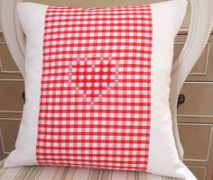 Red Gingham Embroidered Heart Cushion