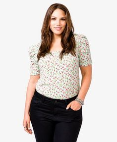 Mini floral print princess sleeve top in mint or blue $10.80 from Forever21+ size 3X