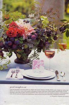 Plums, blueberries, roses, dahlias, begonia foliage, hydrangeas, dusty miller, corydalis, akebia vines; Ariella Chezar