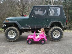 Just a bad ass little girl & her pink jeep :)