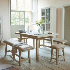 This loafy take on the classic oak kitchen table is a really nifty piece of design - when you extend the top the legs stay right where they are. Table, Handmade Dining Table, Furniture, Beautiful Bedding, Kitchen Table Oak, Painted Dining Table, Extendable Kitchen Table, Home Decor, Dining Table