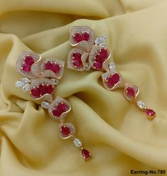 American Diamond Party Earrings. Beautiful Rose Shape Earrings. Rama Creations Manufacturer & Wholesalers of Exclusive Imitation Jewellery in India.