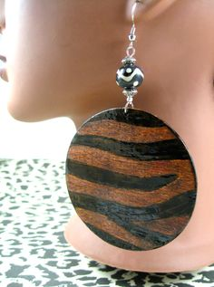 Woodburned Chocolate Zebra Wooden Earrings by JEHAANS on Etsy, $30.00