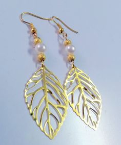 Antique gold dangle pearl Earrings boho jewelry by Arielior, $15.00