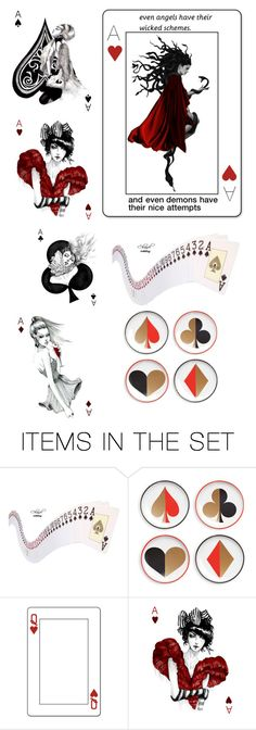 """""""even demons have their nice attempts"""" by nico-de-angelo ❤ liked on Polyvore featuring art, card, nicosartsets, nicospeople, cardsofnico and katherinescardgame"""