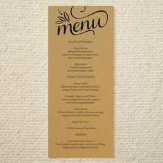 DIY Kraft Paper Wedding Menu - Love & Cherish Script - Printable PDF Template - Instant Download via Etsy