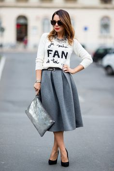 """Charcoal Gray River Island Skirts, Periwinkle Zara Bags   """"Je suis fan de toi..."""" by cashmereinstyle"""