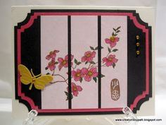 hand crafted card from Creations by Patti: Asian Faux Floral Washi Card ... split panel inside layered tag ...