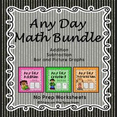 First Grade Math. Addition, subtraction and graphing worksheets. Over 200 printables Addition sums to 10. Subtraction within 10. Bar Graphs and Picture Graphs. This bundle will save you time and money! No more searching for the right skill and matching to the season or holiday. These worksheets can be used any day! Just check the table of contents for the skill you need.