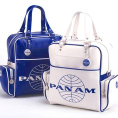 Pan Am - Vintage Fabulous Travel Bags  Pan Am handbags are the chic offspring of a successful airline that peaked at the start of mass air travel. Given to only its first class, Pan Am bags became a status symbol carried by the rich, elite and (often) famous. Here the company shows off their favorites, as well as a few brand new models for us mere mortals.