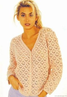 Pink cardigan in spider pattern - charts at source