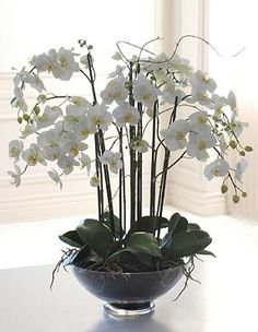 Add an elegant, sculptural presence to any interior with the graceful silhouette of the handcrafted Phalaenopsis Orchid in Glass Bowl. Perfect for a dining room centerpiece