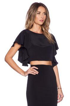 MILLY Silk Crop Top in Black