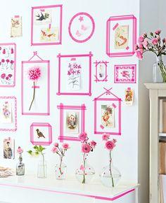 Inspiration : Pink diy - Black Confetti masking tape wall
