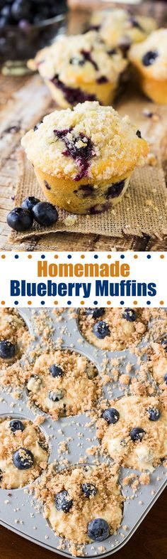 Homemade Blueberry Muffins- the only homemade blueberry muffin recipe you will need! Homemade Blueberry Muffins- the only homemade blueberry muffin recipe you will need! Mini Desserts, Just Desserts, Delicious Desserts, Dessert Recipes, Yummy Food, Homemade Blueberry Muffins, Blueberry Recipes, Blueberry Crumble, Muffin Recipes
