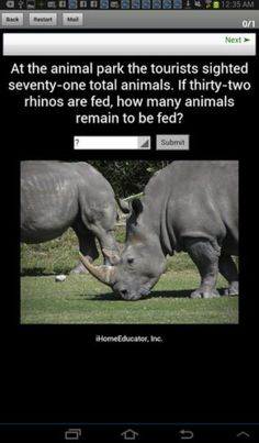 iLiveMath2 on sale for the Nook - African Animals and math word problems.