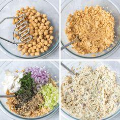 how to make tuna salad with chickpeas step by step photos Healthy Vegan Snacks, Vegan Recipes Easy, Veggie Recipes, Veggie Meals, Healthy Lunches, Lunch Recipes, Vegan Food, Tuna Macaroni Salad, Tuna Salad