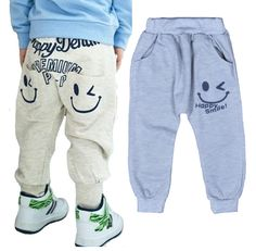 Toddler Baby Girl Boy Rubber Head Elastic Waist Cartoon Print Pants Trousers