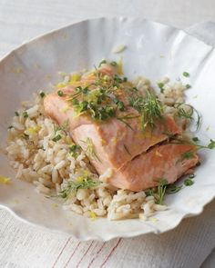 Steamed Salmon with Fresh Herbs and Lemon + avocado-vanilla smoothie recipe (CLICK PICTURE TWICE)