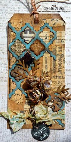 Luv the burlap, cork & paper in between the die - Brenda Brown - http://www.bumblebeesandbutterflies.com/2014/04/april-tim-tag.html