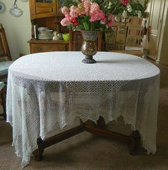 Vintage Hand Crocheted White Tablecloth  Rectangle by MemeresAttic